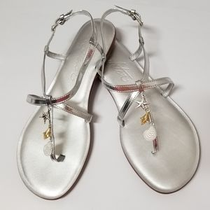 NWT Brighton Silver Oceana Leather Sandal 10M